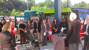 Johnson County Board of County Commissioners Chairman Ed Eilert speaks at the dedication of the Allen Roth Transit Center in Mission.