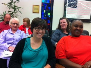 Waiting to testify at the UG Finance Committee budget meeting. Erin, Connie, Carroll, and Carol