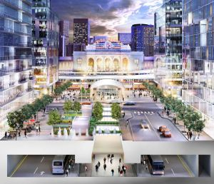 Rendering of Denver Union Station showing new streets, pedestrian mall and underground bus-way. Note development on either side of street/pedestrian mall. Subterranean walkway, surface streets and pedestrian mall connect to light rail stop.